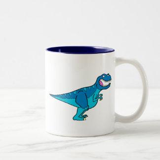 T-rex azul taza de dos tonos