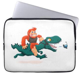 T rex bigfoot-cartoon t rex-cartoon bigfoot laptop sleeve
