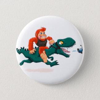 T rex bigfoot-cartoon t rex-cartoon bigfoot pinback button