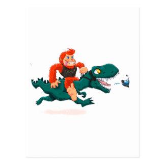 T rex bigfoot-cartoon t rex-cartoon bigfoot postcard