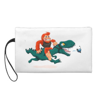 T rex bigfoot-cartoon t rex-cartoon bigfoot wristlet purse