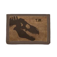 T-Rex Bones Personalized Tri-fold Wallet at Zazzle