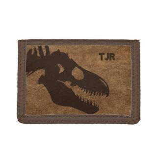 T-Rex Bones Personalized Trifold Wallet