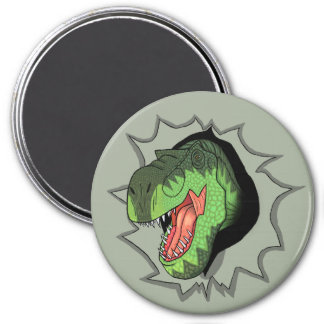T-Rex busting out of 3 Inch Round Magnet