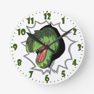 T-Rex busting out of Round Clock