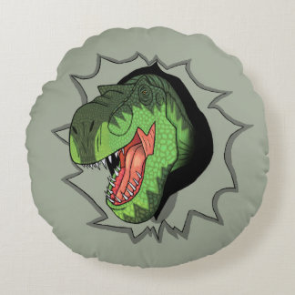 T-Rex busting out of Round Pillow