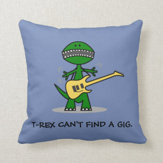 T-Rex Can't Find a Gig Guitar Music Throw Pillow