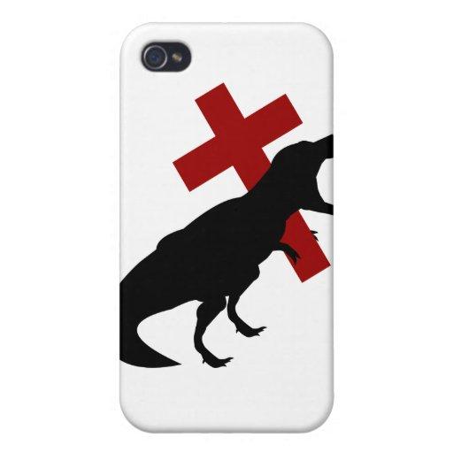 T-Rex con la cruz iPhone 4 Cárcasas