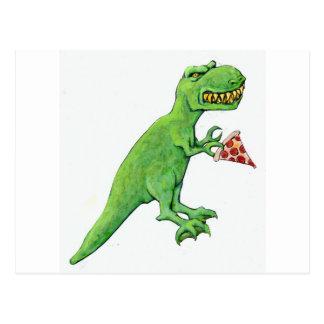 T-Rex con la pizza Postales