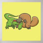 T-rex contra Platypus Póster