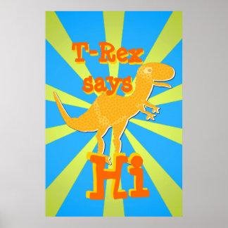 T-Rex dice hola el poster del regalo