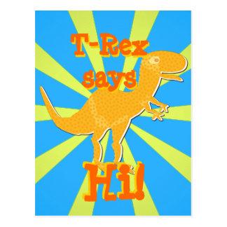 T-Rex dice hola la postal