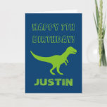 "T rex dinosaur Birthday greeting card for kids<br><div class=""desc"">Personalized T rex dinosaur Birthday greeting card for kids. Cute Birthday card idea for boys and girls. Green prehistoric Tyrannosaurus rex animal design with customizable color background. Personalized wild trex for children. Fun for kindergarten, grammar school, elementary school kids. Add your own name. Also available as big extra large oversized...</div>"
