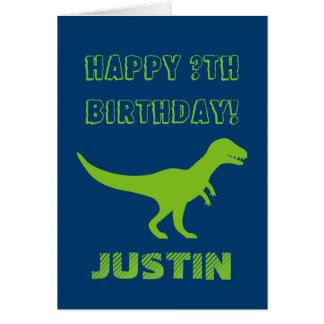 T rex dinosaur Birthday greeting card for kids