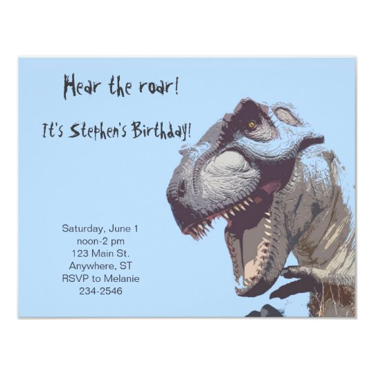 T Rex Dinosaur Birthday Invitation