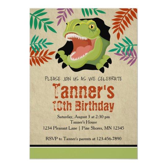 T Rex Dinosaur Birthday Invitations Green