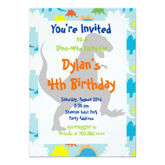 "T Rex Dinosaur Birthday Party Invitations 5"" X 7"" Invitation Card"