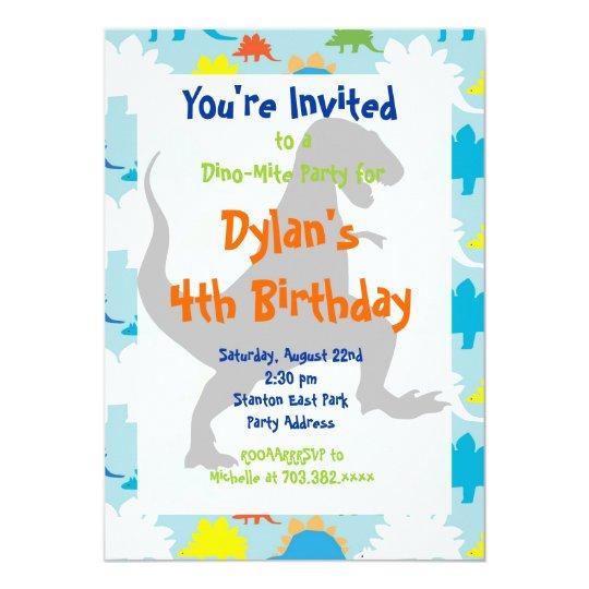 t rex dinosaur birthday party invitations zazzle com
