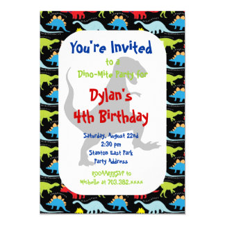 T Rex Dinosaur Birthday Party Invitations