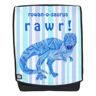 T-Rex Dinosaur Blue RAWR Name-O-Saurus Colorful Backpack