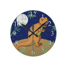 T-Rex Dinosaur Boys Wall Clock