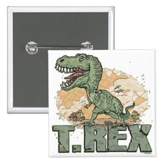 T. Rex Dinosaur by Mudge Studios 2 Inch Square Button