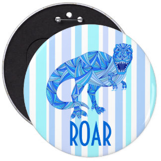 T-Rex Dinosaur Colorful Prehistoric Stripes Button
