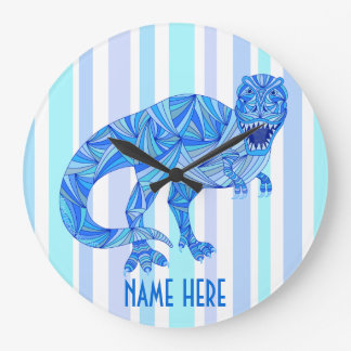 T-Rex Dinosaur Colorful Prehistoric Stripes Large Clock