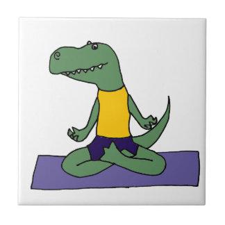 T-Rex Dinosaur Doing Yoga Tile