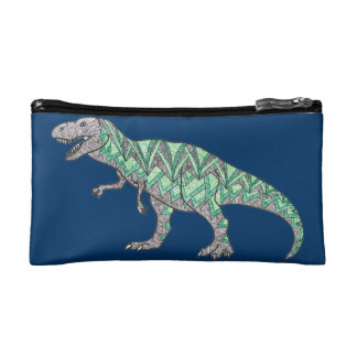 T-Rex Dinosaur Doodle Illustrated Art Cosmetic Bag