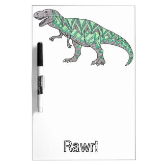 T-Rex Dinosaur Doodle Illustrated Art Dry Erase Board