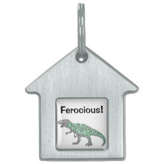T-Rex Dinosaur Doodle Illustrated Art Pet Name Tag
