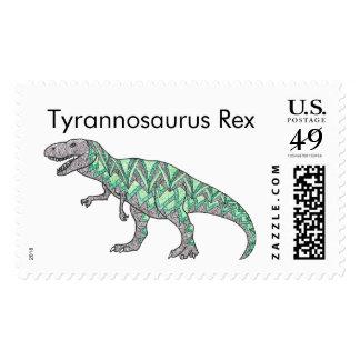 T-Rex Dinosaur Doodle Illustrated Art Postage
