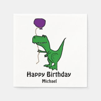 T-rex Dinosaur Holding Balloon Paper Napkins