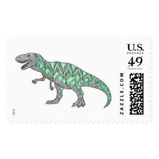 T-Rex Dinosaur Illustrated Postage Stamps