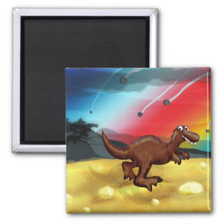 T-Rex Dinosaur Illustration 2 Inch Square Magnet