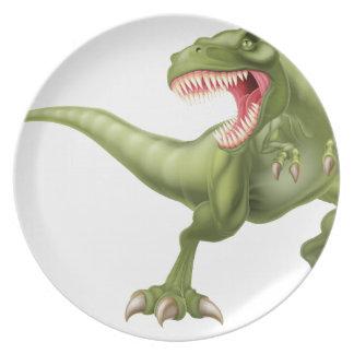 T Rex Dinosaur Illustration Dinner Plate