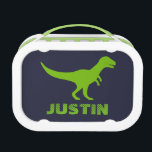"""T Rex dinosaur lunch box personalized for boys<br><div class=""""desc"""">Custom T Rex dinosaur tote bag for kids. Cute Birthday or Christmas gift idea for boys and girls. Green prehistoric Tyrannosaurus rex animal design with customizable color background. Personalized wild trex school supplies for children. Fun for kindergarten,  grammar school,  elementary school etc.</div>"""