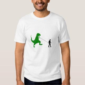 T-Rex Dinosaur on Leash Walking with Man T-shirt