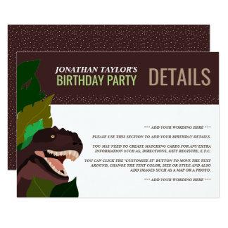 T Rex Dinosaur Party Children's Birthday Detail Card