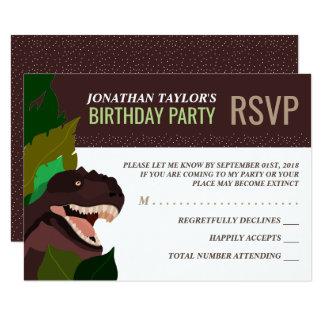T Rex Dinosaur Party Children's Birthday RSVP Card