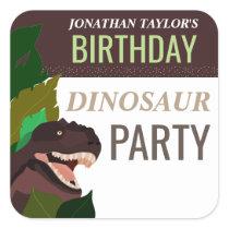 T Rex Dinosaur Party Children's Birthday Square Sticker