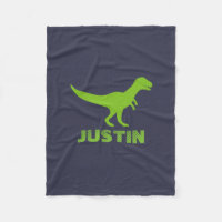 T rex dinosaur personalized fleece blanket for kid