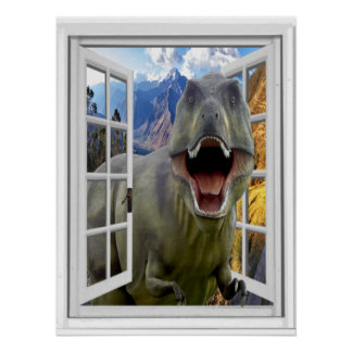 T-Rex Dinosaur Picture Fake Window Poster
