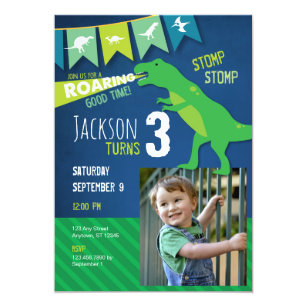 T REX Dinosaur Roaring Birthday Party Invitation
