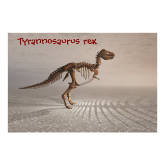 T. rex dinosaur skeleton poster