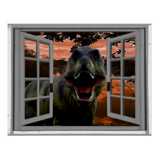 T-Rex Dinosaur Sunset View Faux Window Poster