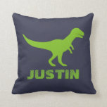 "T Rex dinosaur throw pillow personalized for kids<br><div class=""desc"">Custom T Rex dinosaur throw pillow cushions for kids bedroom, play room or nursery room. Green prehistoric Tyrannosaurus rex animal design with customizable color background. Personalized wild trex silhouette for children. Fun for kindergarten, grammar school, elementary school child. Cute Birthday or Christmas gift idea for boys and girls. Fun dinasaur...</div>"
