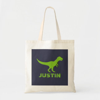 T Rex dinosaur tote bag personalized for kids