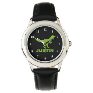T Rex Dinosaur Watch Personalized With Kids Name at Zazzle